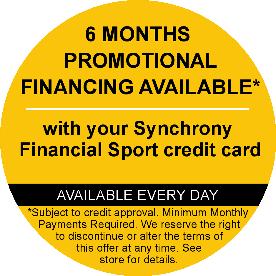 6 months promotional financing available through Synchrony